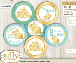 Baby Shower Neutral Bunny Cupcake Toppers Printable File for Little Neutral and Mommy-to-be, favor tags, circle toppers, Polka, Sage