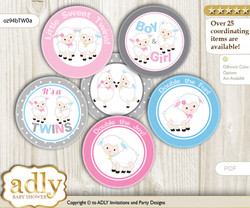 Baby Shower Twins Lamb Cupcake Toppers Printable File for Little Twins and Mommy-to-be, favor tags, circle toppers, Polka, Pink Blue