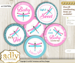 Baby Shower Girl Dragonfly Cupcake Toppers Printable File for Little Girl and Mommy-to-be, favor tags, circle toppers, Glitter, Pink Teal