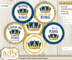 Baby Shower King Cupcake Toppers Printable File for Little King and Mommy-to-be, favor tags, circle toppers, Royal, Blue Gold