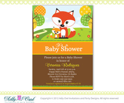 Fox Baby Shower Printable DIY party invitation for boy or girl (gender neutral), forest baby shower
