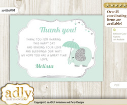 Boy Elephant Thank you Printable Card with Name Personalization for Baby Shower