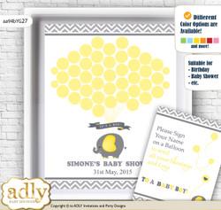 Peanut Elephant Guest Book Alternative for a Baby Shower, Creative Nursery Wall Art Gift, Yellow Grey, Chevron