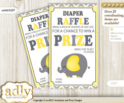 Peanut Elephant Diaper Raffle Printable Tickets for Baby Shower, Yellow Grey, Chevron