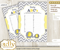 Peanut Elephant Baby ABC's Game, guess Animals Printable Card for  Baby Elephant Shower DIY – Chevron n