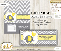 Personalizable Peanut Elephant Chocolate Bar Candy Wrapper Label for Peanut  baby shower, birthday Yellow Grey , Chevron