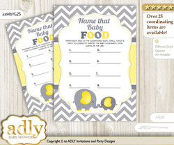 Peanut Elephant Guess Baby Food Game or Name That Baby Food Game for a Baby Shower, Yellow Grey Chevron