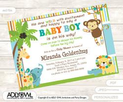 Jungle Baby Shower Invitation for Boy, Colorful Jungle Invitation with Monkey, Lion, Elephant,crocodile,orange, brown, blue green