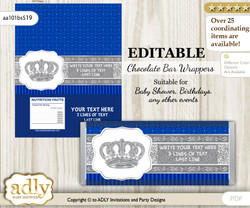 Personalizable Boy Crown Chocolate Bar Candy Wrapper Label for Boy  baby shower, birthday Silver Blue , Royal