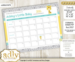 Baby Giraffe Baby Due Date Calendar, guess baby arrival date game