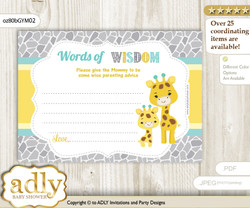 Yellow Mint Baby Giraffe Words of Wisdom or an Advice Printable Card for Baby Shower, Neutral