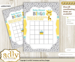 Printable Yellow Mint Giraffe Bingo Game Printable Card for Baby Baby Shower DIY grey, Yellow Mint, Neutral