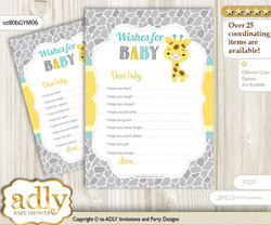 Baby Giraffe Wishes for a Baby, Well Wishes for a Little Giraffe Printable Card, Neutral, Yellow Mint