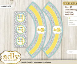 Printable Baby Giraffe Cupcake, Muffins Wrappers plus Thank You tags for Baby Shower Yellow Mint, Neutral