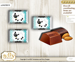 Boy Lamb Chocolate Nuggets Candy Wrapper Label for Baby Boy Shower  Turquoise , Polka