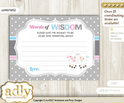 Pink Blue Twins Lamb Words of Wisdom or an Advice Printable Card for Baby Shower, Polka
