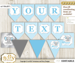 Personalized Boy Elephant Printable Banner for Baby Shower, Grey Blue, Polka