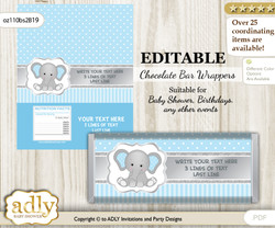 Personalizable Boy Elephant Chocolate Bar Candy Wrapper Label for Boy  baby shower, birthday Grey Blue , Polka