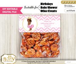 Text Editable African Princess Goodie  Treat Bag Toppers, DIY Favor Bag Digital File, print at home