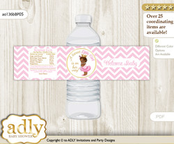 African Princess Water Bottle Wrappers, Labels for a Princess  Baby Shower, Pink Gold, Chevron