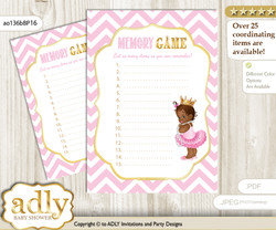 African Princess Memory Game Card for Baby Shower, Printable Guess Card, Pink Gold, Chevron