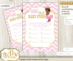 African Princess Guess Baby Food Game or Name That Baby Food Game for a Baby Shower, Pink Gold Chevron