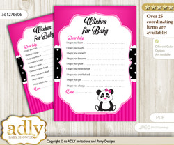 Girl Panda Wishes for a Baby, Well Wishes for a Little Panda Printable Card, Polka, Pink Black
