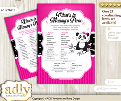 Girl Panda What is in Mommy's Purse, Baby Shower Purse Game Printable Card , Pink Black,  Polka