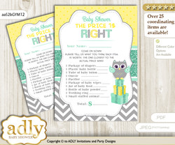 Printable Neutral  Owl Price is Right Game Card for Baby Owl Shower, Mint Yellow, Chevron