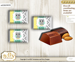 Neutral  Owl Chocolate Nuggets Candy Wrapper Label for Baby Neutral  Shower  Mint Yellow , Chevron