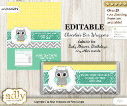 Personalizable Neutral  Owl Chocolate Bar Candy Wrapper Label for Neutral   baby shower, birthday Mint Yellow , editable wrappers