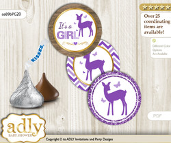 Printable  Girl Deer Candy Kisses for Baby Girl Shower DIY Purple Gold , Fawn