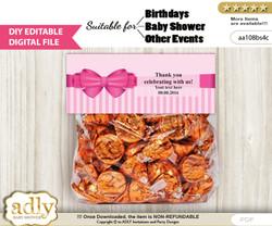 Text Editable Girl Bow Goodie  Treat Bag Toppers, DIY Favor Bag Digital File, print at home  n