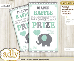 Boy Elephant Diaper Raffle Printable Tickets for Baby Shower, Mint Grey, Chevron