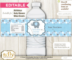 Text Editable Boy Peanut Water Bottle Label, DIY Personalizable Wrapper Digital File, print at home for any event