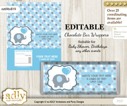 Personalizable Boy Peanut Chocolate Bar Candy Wrapper Label for Boy  baby shower, birthday Blue Grey , editable wrappers