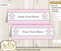 Text Editable Printable Girl Elephant Buffet Tags or Food Tent Labels  for a Baby Shower or Birthday , Silver Pink, Polka