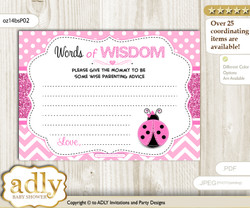 Pink Black Girl Ladybug Words of Wisdom or an Advice Printable Card for Baby Shower, Polka