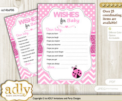 Girl Ladybug Wishes for a Baby, Well Wishes for a Little Ladybug Printable Card, Polka, Pink Black