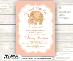 Coral Peach Pink Elephant Baby Shower Invitation card, A sweet Little Girl is on her way, glitter gold, powder pink
