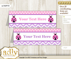 Text Editable Printable Purple Ladybug Buffet Tags or Food Tent Labels  for a Baby Shower or Birthday , Pink Polka, Glitter