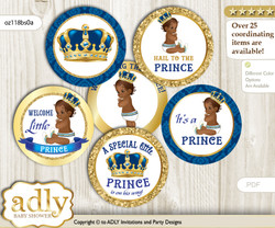 Baby Shower King Prince Cupcake Toppers Printable File for Little King and Mommy-to-be, favor tags, circle toppers, African, Royal blue