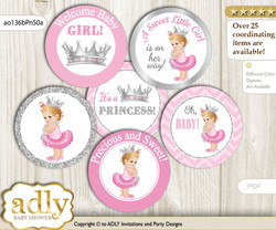 Baby Shower Royal Princess Cupcake Toppers Printable File for Little Royal and Mommy-to-be, favor tags, circle toppers, Chevron, Pink Silver