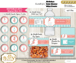 DIY Text Editable Baby Seahorse Baby Shower, Birthday digital package, kit-cupcake, goodie bag toppers, water labels, chocolate bar wrappers