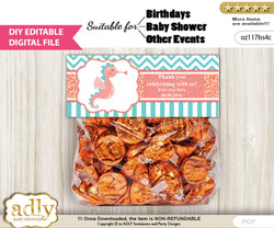 DIY Text Editable Baby Seahorse Goodie  Treat Bag Toppers, Favor Bag Digital File, print at home