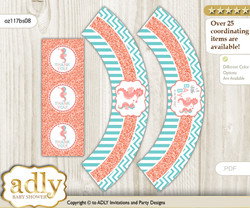 Printable Baby Seahorse Cupcake, Muffins Wrappers plus Thank You tags for Baby Shower Coral, Turquoise