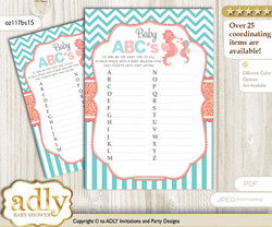 Baby Seahorse Baby ABC's Game, guess Animals Printable Card for Baby Seahorse Shower DIY – Turquoise