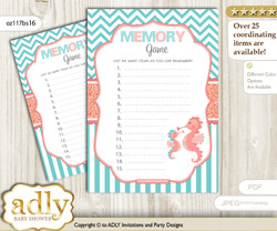 Baby Seahorse Memory Game Card for Baby Shower, Printable Guess Card, Coral, Turquoise