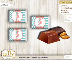 Baby Seahorse Chocolate Nuggets Candy Wrapper Label for Baby Baby Shower  Coral , Turquoise