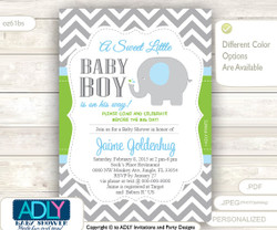 Boy Elephant Invitation for a Boy Baby Shower in Grey Chevron, Lime Green and Blue colors. A sweet Little BOY is on the way